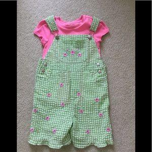 Other - Girls 5-6 green check seersucker bib shirt set